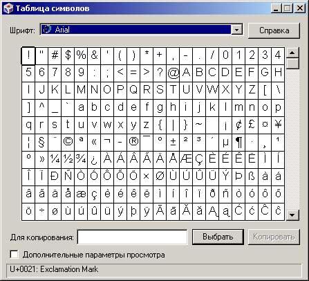 Окно программы Таблица символов