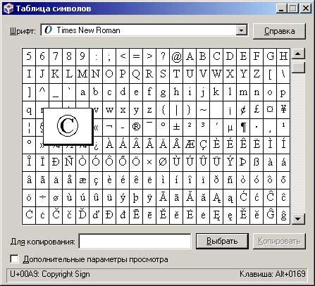 Выбранный символ в таблице символов